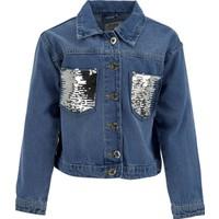 DeFacto Kız Çocuk Payetli Jean Ceket