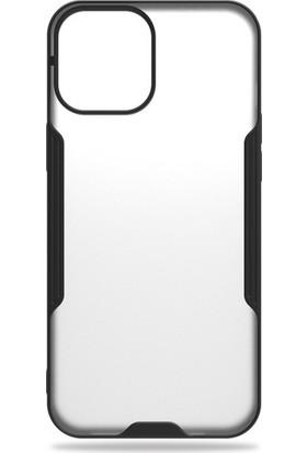 Mobicas Apple iPhone 12 Kılıf Silikon Kenarlı Buzlu Parfe Silikon Siyah