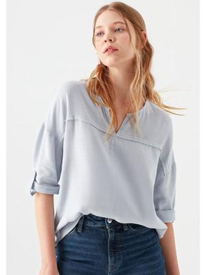 Mavi Kadın V Yaka Mavi Bluz 121357-28313