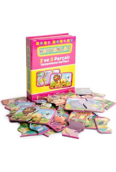 Hobialem Diytoy, Hayvanlar Tamamlama Kartları, 2 ve 3 Parçalı, Puzzle Seti, Zeka Kartları