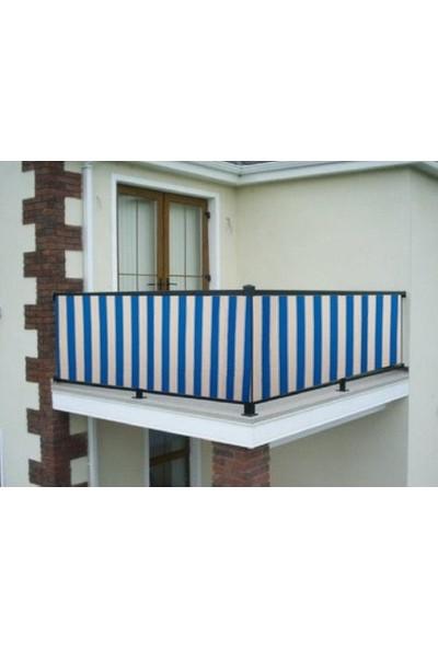 Ceylan Home Balkon Demiri Perdesi Kuş Gözü Metal Halka Kahverengi Kalın Çizgili Turkuaz 450X80 1 kg