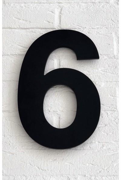 Kapı Numarası 10 cm No 6, Siyah Pleksi Kendinden Yapışkanlı Bina Daire Villa Kapı Numarası Arial Yazı Tipi