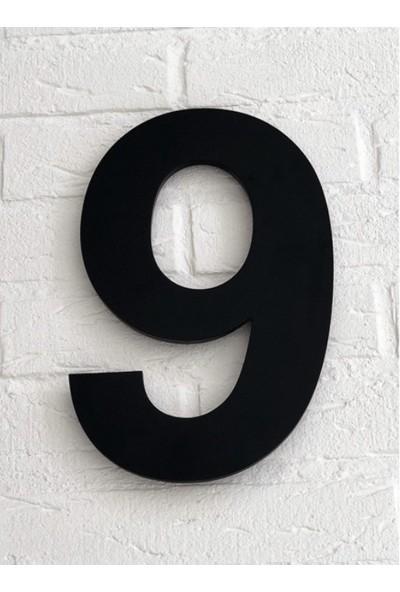 Kapı Numarası 10 cm No 9, Siyah Pleksi Kendinden Yapışkanlı Bina Daire Villa Kapı Numarası Arial Yazı Tipi