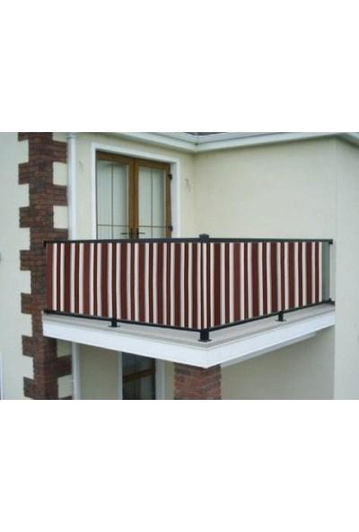 Ceylan Home Balkon Demiri Perdesi Kuş Gözü Metal Halka Kahverengi Kalın Çizgili Kahverengi 450X80 1 kg