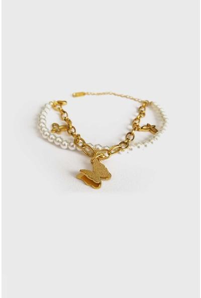 Jewel Çift Zincir Incili Gold Altın Kaplama Bileklik