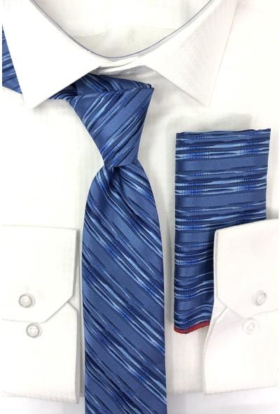 Quesste Erkek Mavi Çizgili Desenli Kravat Mendil Kombin Kutulu Hediye Set