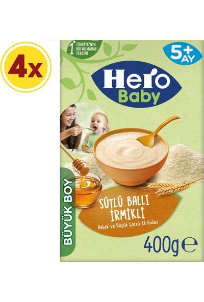 Hero Baby Sütlü Irmikli Ballı Kaşık Mama 400 gr x 4 Adet