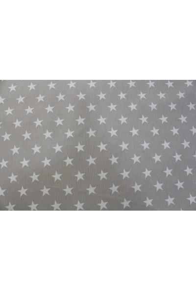 Premier Duck Keten Kumaş Gri Zemin Beyaz Yıldızlı En 180 cm