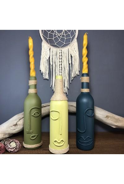 Mes Reves Design El Yapımı Dekoratif Şarap Şişeleri 3 'lü Set (Çiçek Için Vazo, Mum Için Şamdan Veya Yalnızca Dekor)