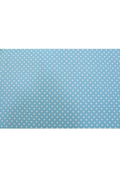Premier Duck Keten Kumaş Mavi Puan Desen En 180 cm