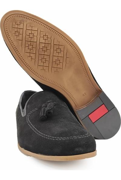 Rego 1305 Hakiki Deri Siyah Süet Erkek Ayakkabı