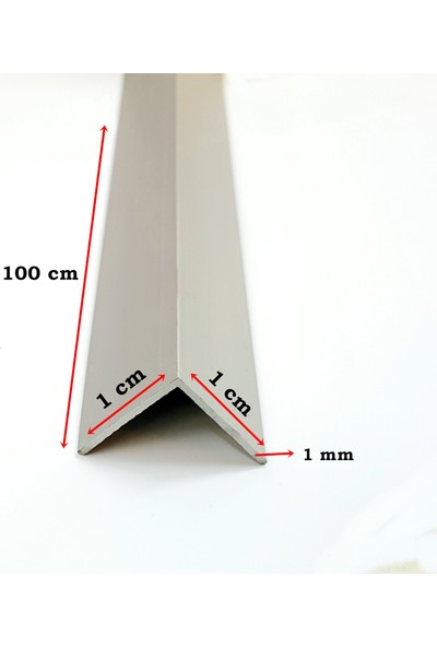 Beşel Alüminyum Köşe Profili Alüminyum Köşebent L Profil Gri 1 cm x 1 cm x 100 cm