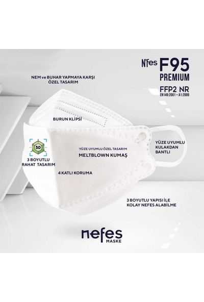 Nefes F95 / Ffp2 Premium Kore Tipi Ce-Iso Sertifikalı Tek Paketli Maske 10'lu