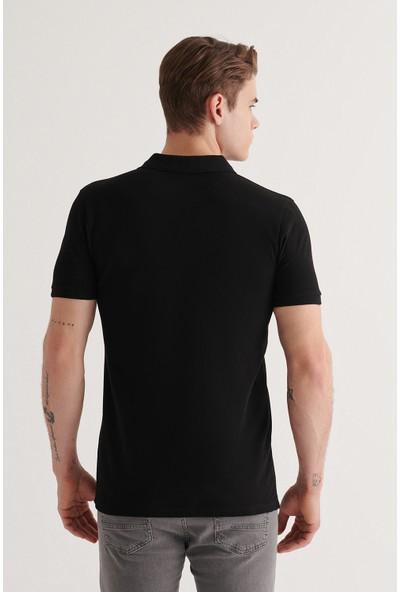 Avva Erkek Siyah Polo Yaka Düz T-Shirt A11B1174