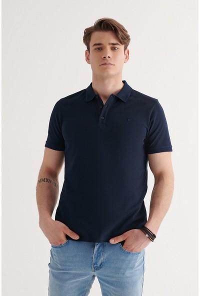 Avva Erkek Lacivert Polo Yaka Düz T-Shirt A11B1146