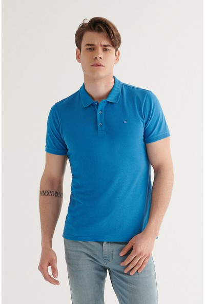 Avva Erkek Koyu Mavi Polo Yaka Düz T-Shirt A11B1146