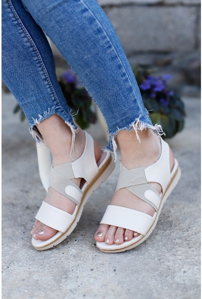 Classy Kadın Krem Lastikli Günlük Sandalet