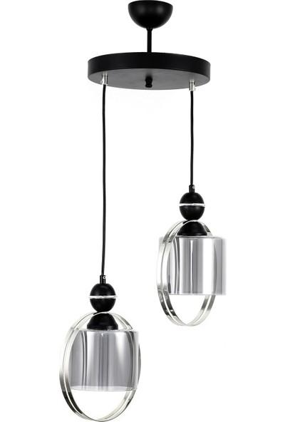 Luna Lighting Modern Luxury Çiftcamlı Gümüş 2'li Sarkıt Avize