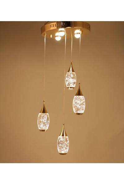 Luna Lighting Modern Luxury LED 4 Lü Ledli Avize