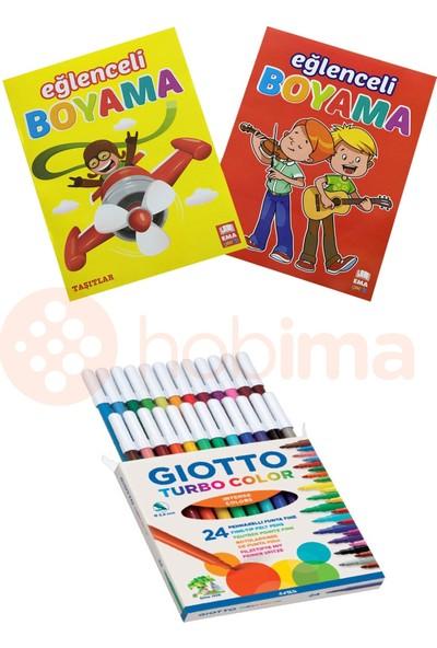 Giotto Turbo Color Keçeli Kalem 24 Renk 2 Adet Boyama Kitabı