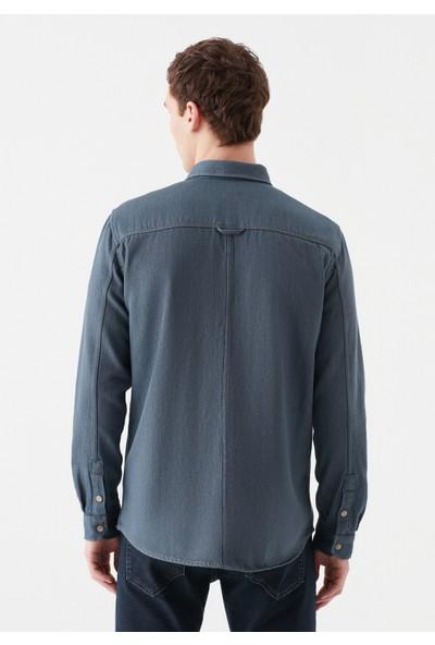 Mavi Erkek Çift Cepli Mavi Gömlek 021726-32952