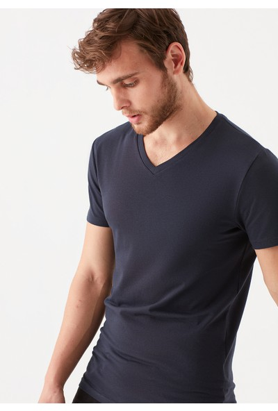 Mavi Erkek V Yaka Streç Lacivert Basic Tişört 061748-17588