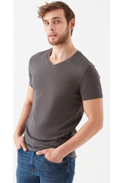 Mavi Erkek V Yaka Streç Gri Basic Tişört 061748-24398