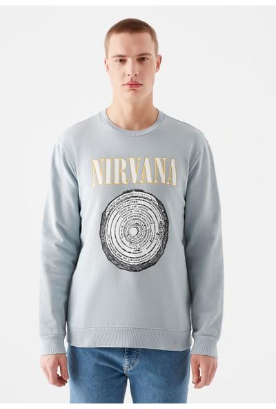Mavi Erkek Nirvana Baskılı Mavi Sweatshirt 066534-32949