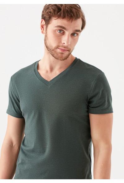 Mavi Erkek V Yaka Streç Yeşil Basic Tişört 061748-25752