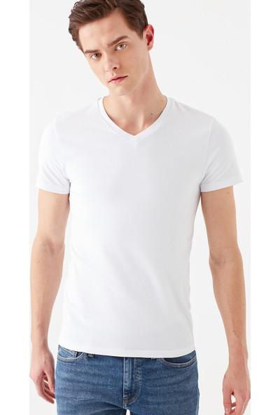 Mavi Erkek V Yaka Streç Beyaz Basic Tişört 061748-620