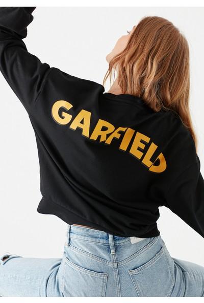 Mavi Kadın Garfield Baskılı Siyah Sweatshirt 1600440-900
