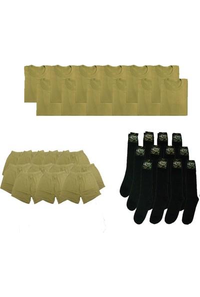 Army Asker Çamaşırı (Fanila - Boxer Uzun ve Siyah Çorap Seti)