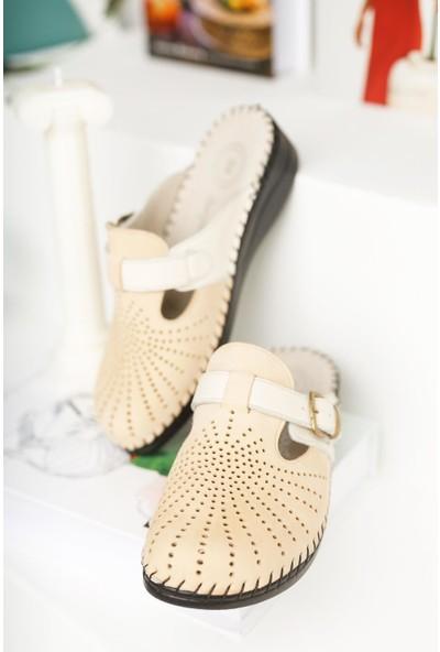 Tarçın Ayakkabı Tarçın Deri Kadın Anatomik Deri Terlik TRC57-0520