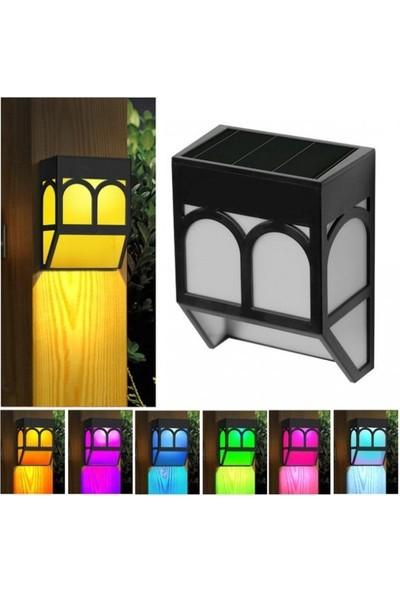 My Black Solar Güneş Enerjili Duvara Monteli Rgb Bahçe Lambası 4 Lü Set