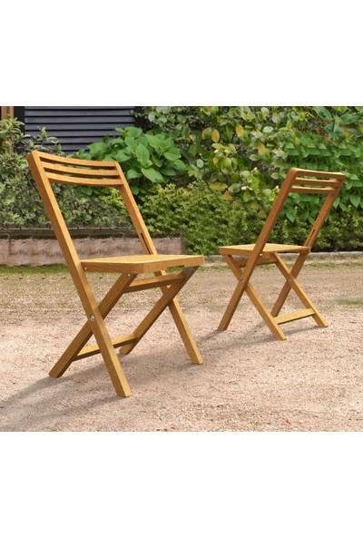 INTERBUILD REAL WOOD Interbuıld Slat Katlanır Sandalyeler (2'li Paket) Balkon Sandalyeleri | Bistro Sandalyeler