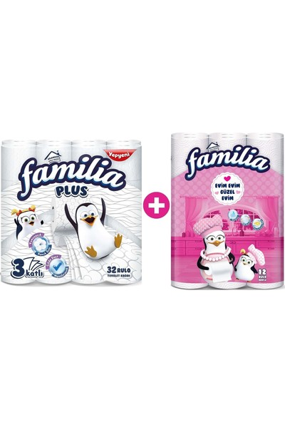 Familia Plus Tuvalet Kağıdı 3 Katlı 32 Li + 12 Li Kağıt Havlu