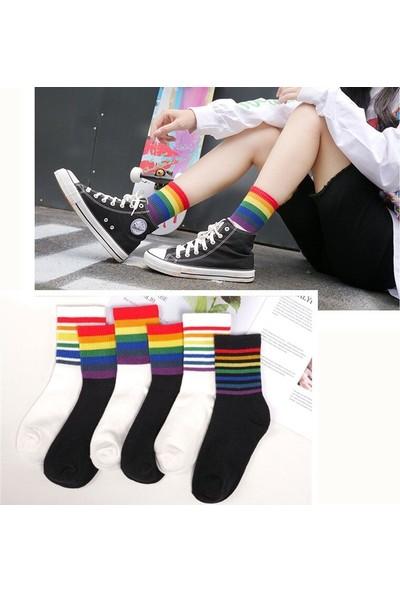 Çorapmanya 6' lı Paket Renkli Gökkuşağı Çizgili Pamuklu Kolej Tenis Çorap