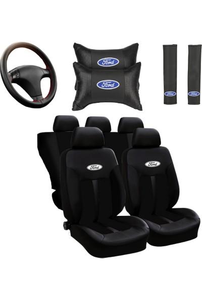 Hep Garaj Ford Logolu Ford Fiesta Ön Arka Oto Koltuk Kılıfı Seti Siyah