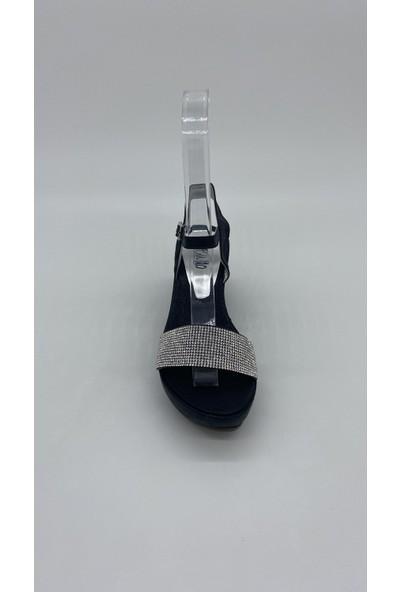 Cudo 032 Dolgu Siyah Taslı Sandalet