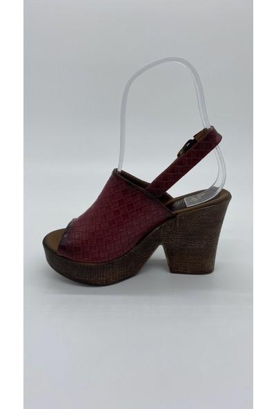 Cudo 027 Platform Topuk Bordo Sandalet