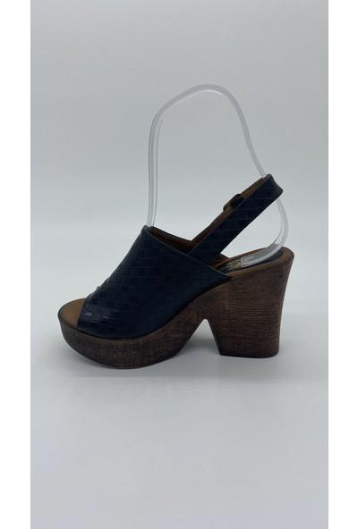 Cudo 028 Platform Topuk Siyah Sandalet