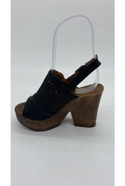 Cudo 030 Platform Topuk Siyah Mat Sandalet