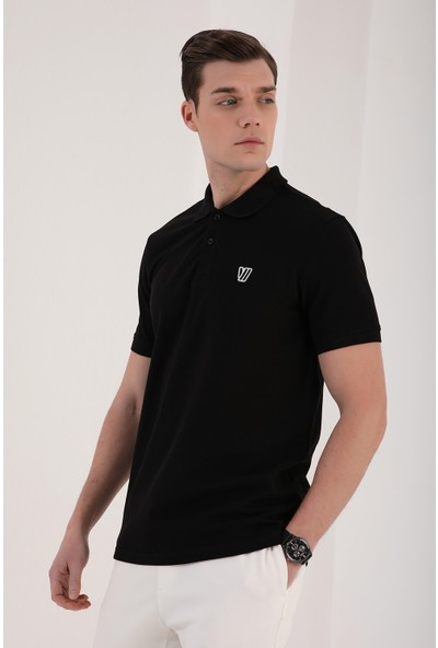 Tommy Life Klasik Polo Yaka Siyah Erkek Tshirt