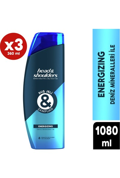 Head & Shoulders Duş Jeli ve Şampuan Energizing 360 ml X3