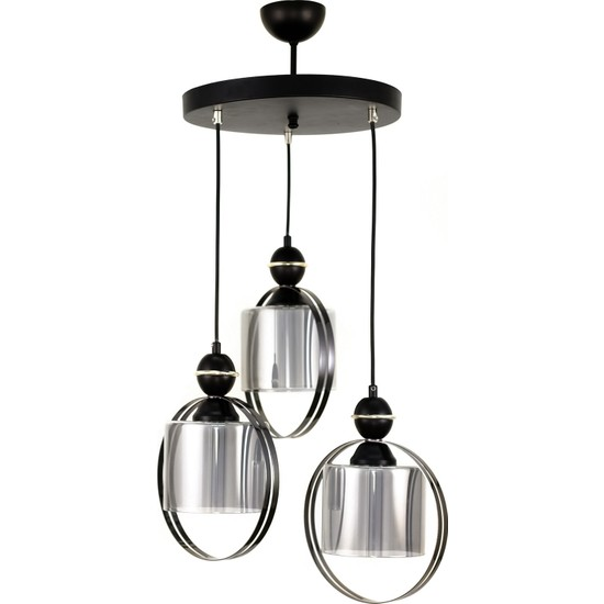 Luna Lighting Modern Luxury Çiftcamlı Siyah 3'lü Sarkıt Avize
