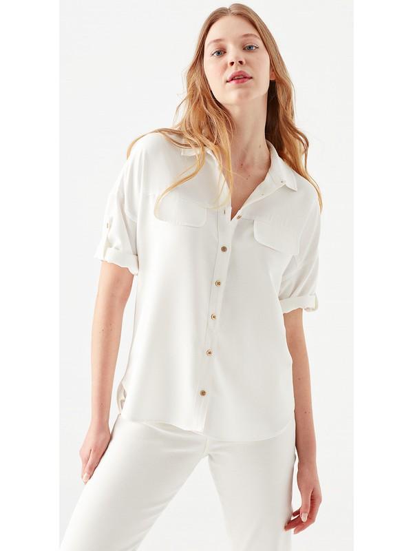 Mavi Kadın Beyaz Gömlek 121927-26829