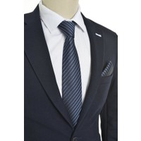Brianze Çizgili Desen Mendilli Kravat