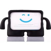 Caseart Samsung Tab 3 Lite 7.0 T110 Renkli Tutacaklı Stantlı Silikon Çocuk Tablet Kılıfı - Siyah
