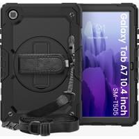 Wowlett Samsung Galaxy Tab A7 Sm T500 T505 T507 Uyumlu 10.4 Inç Full Protection Zırh Standlı Kılıf Siyah
