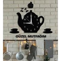 Duvar Dekoru Çaydanlıklı Saat Güzel Mutfağım